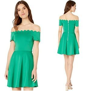 Ted Baker Off Shoulder Green Scallop Dress 3 NWT